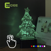 CNHIDEE Novelty Christmas Tree Shaped 3D LED RGB Touch Table Lights Lamparas De Mesa As Creative