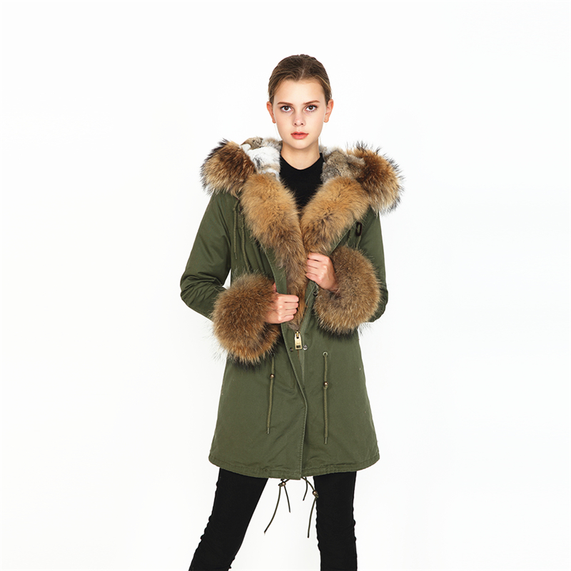 OFTBUY 2019 nuovo parka reale cappotto di pelliccia di inverno delle donne del rivestimento naturale collo di pelliccia di procione caldo di spessore fodera in pelo di coniglio parka staccabile-in Parka da Abbigliamento da donna su  Gruppo 3