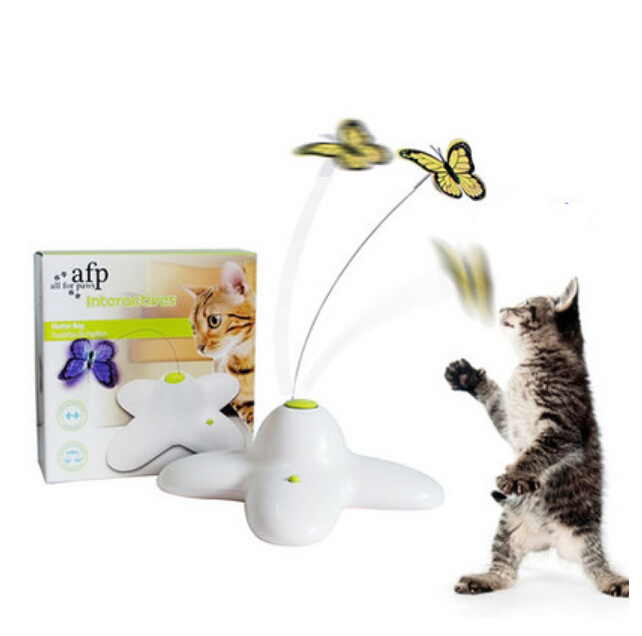 AFP Pet Cat Toy Interactive Electric Butterfly Playing Rotating Butterfly Toys For Kitten Funny