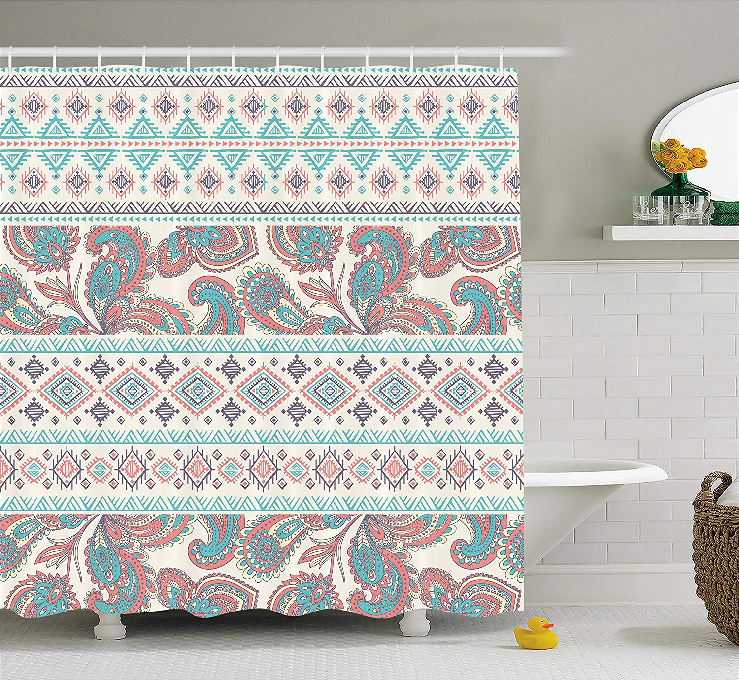 Tribal Shower Curtain Paisley Patterns In Native Aztec In