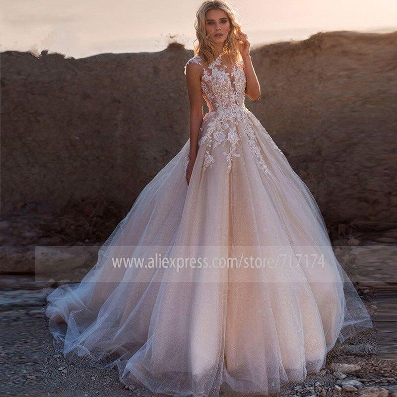 Applique O-neck Tulle Cap Sleeve Beading Wedding Dress With Illusion Button Back Sweep Train Bridal Dress Vestido De Novia