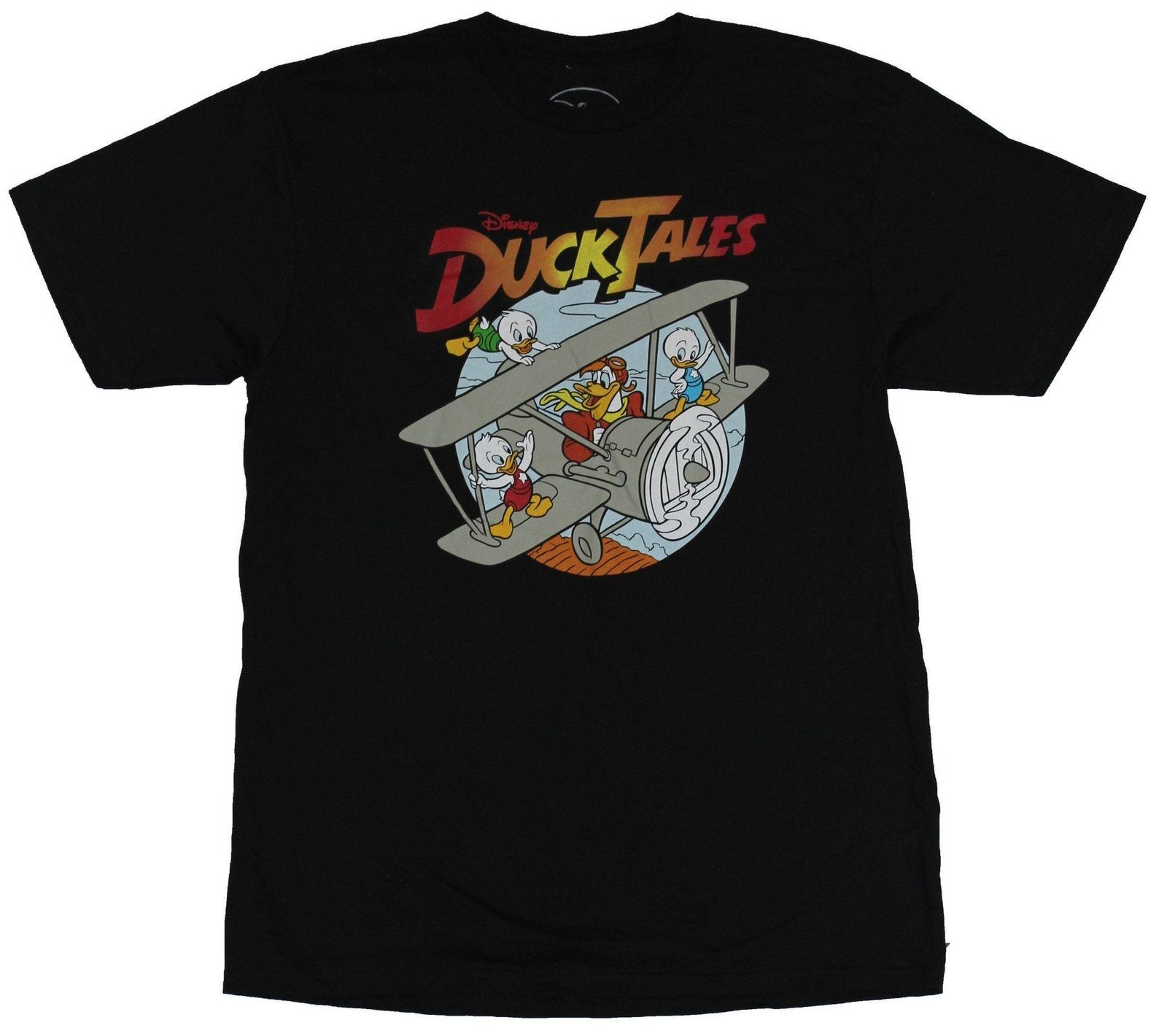 Duck Tales Mens T-Shirt - Launchpad McDuck and the Nephews in a Plane Image ...
