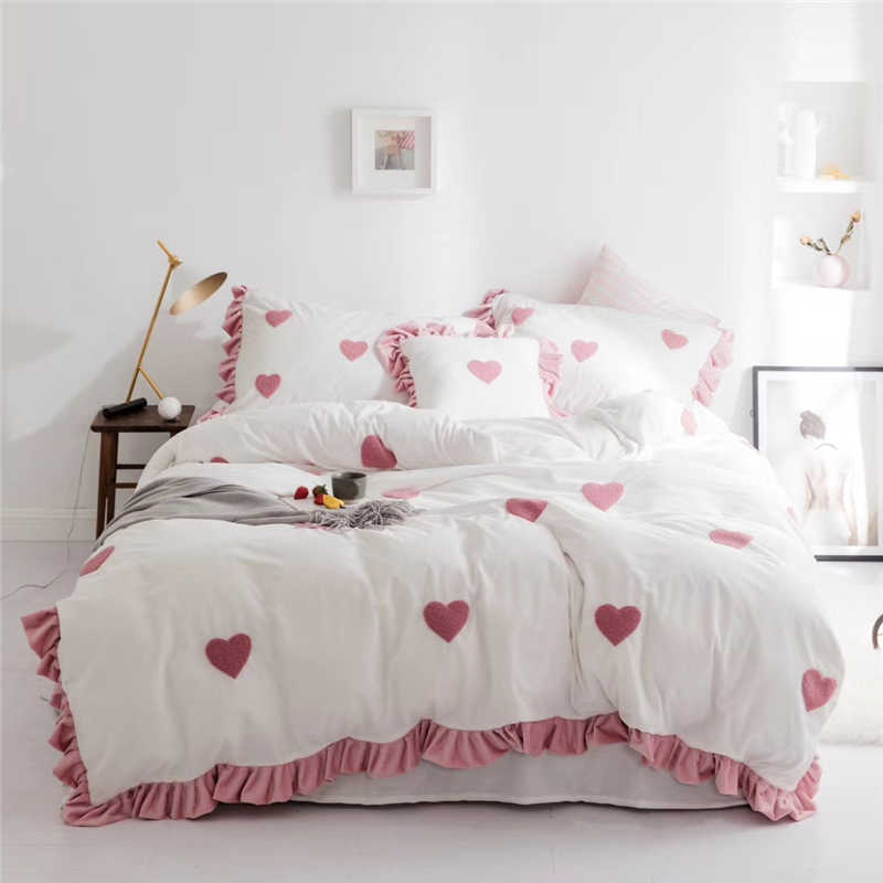... супер мягкий Постельные принадлежности флисовая оборками постельное  белье кровать Простыни наволочка queen king size на Aliexpress.com  f1a62c2f50794