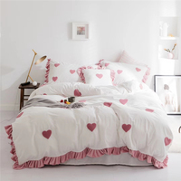 4/6pcs Milk Velvet Flannel Sweetheart Super Soft Bedding set Fleece Ruffles Duvet cover set Bed Sheet Pillowcase Queen King size