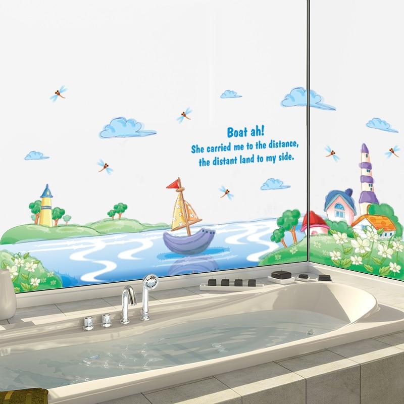 Zs Sticker nautical wall sticker waterproof home decor bathroom wall decal for kids room