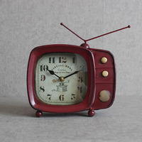 Super Silent Desk Alarm Clock Retro Design TV Television Clock Metal Vintage Style Classic Xmas Gift
