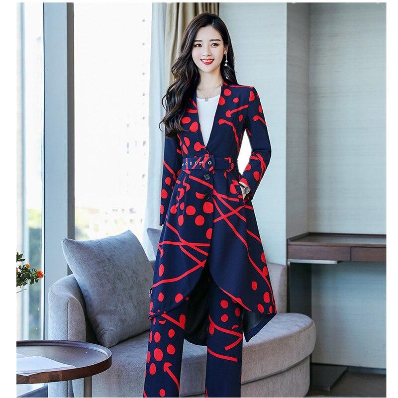 Costume femme mode réparation impression costume long deux pièces costume (manteau + pantalon) pantalons costumes pour femmes