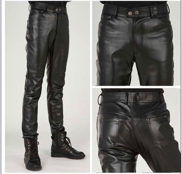 Plus Size Slim Male Leather Pants Male Trousers Tight Leather Pants Male Motorcycle Pants Pantalon Homme Pants Men Trousers 2018