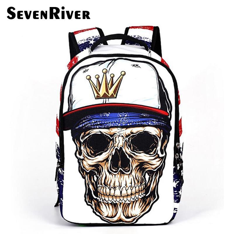 Travel Backpack School-Bags Skull Sprayground Fashion Mochila Teenagers For Men