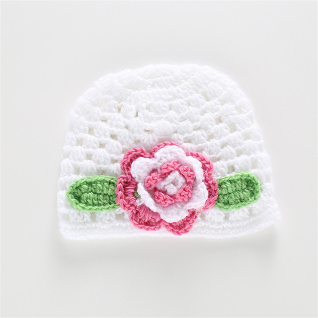31da8508f US $1.13 25% OFF|Quality Cute Big Flower Baby Cap Newborn Infant Toddler  Girl Warm Beanie Knit Hat Cap For Baby Photography Size 37 39CM-in Hats &  ...