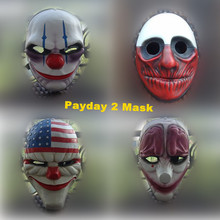 Payday 2 Mask Resin The Heist Dallas/Wolf/Chains/Hoxton cosplay halloween horror clown masquerade cosplay Carnaval Costume men браслет hoxton