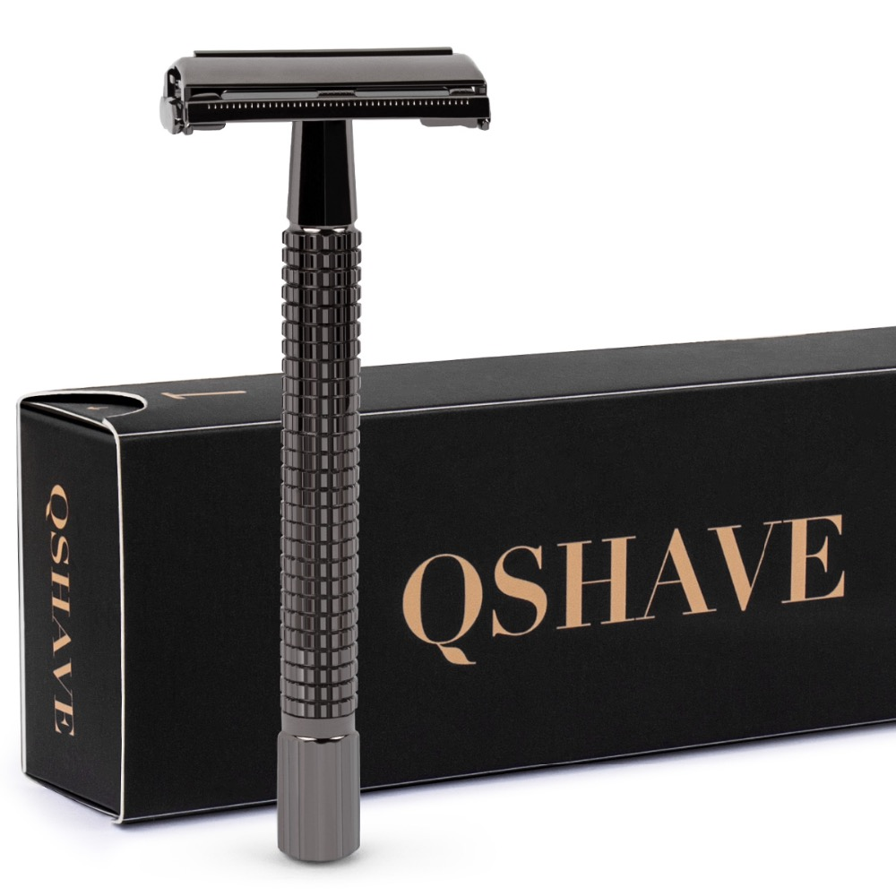 Qshave Double Edge Safety Razor Classic Safety Razor Black Color Long Handle Butterfly Open, 1 Handle & 5 Blades