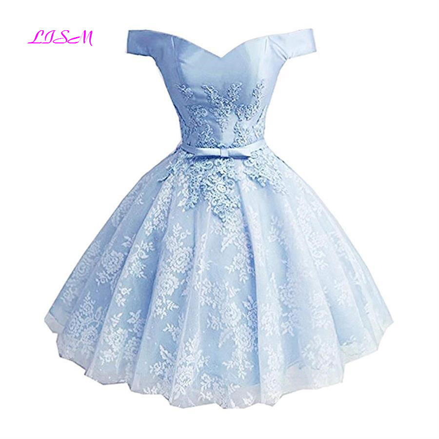 Princess Off the Shoulder Mini Homecoming Dress Short Lace Applique Party Dress Pink Tulle Cocktail Gowns vestidos de graduacion in Homecoming Dresses from Weddings Events
