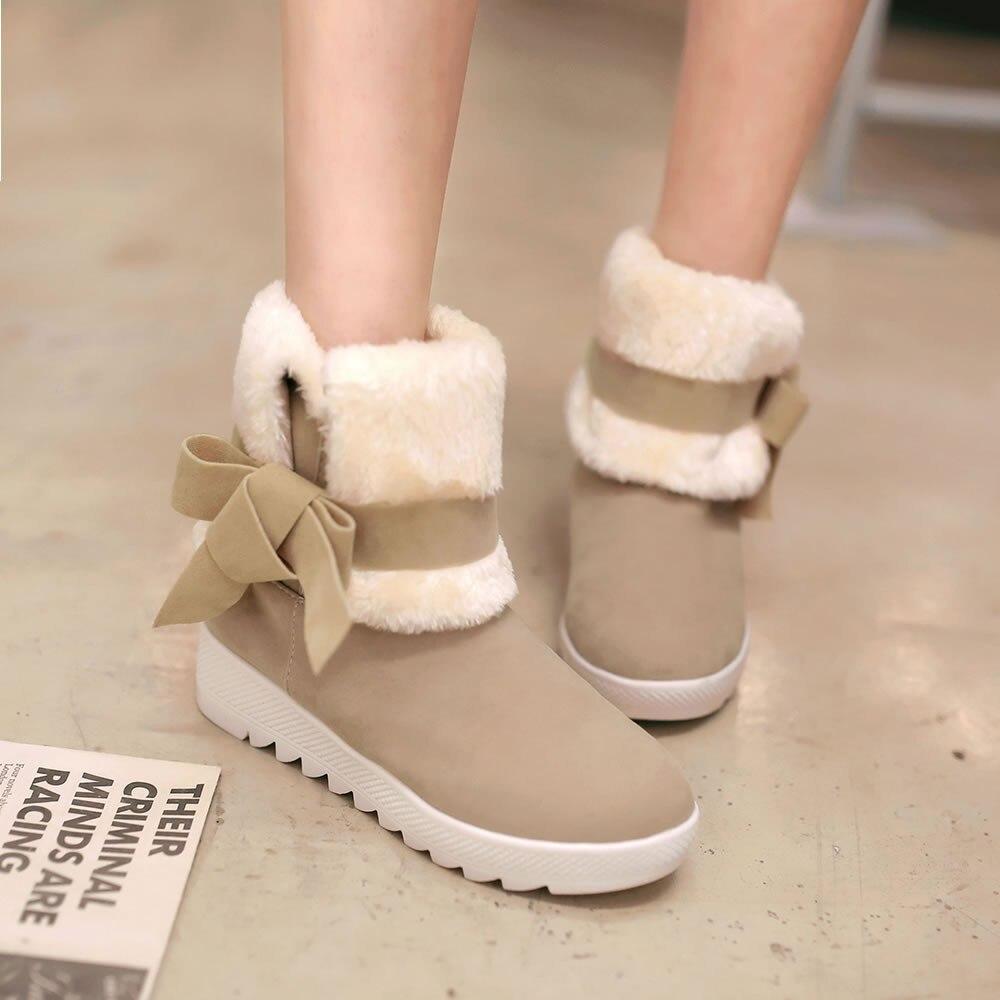 Nieve b Mujeres Clásico Los G8 en Del Bowtie Color Resbalón Sólido Botas A c Zapatos Estudiante Ocasionales Invierno qApqWBr