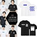 K pop KPOP EXO K M Álbum EX'ACT MONSTRO Sortudo T Camisa K-POP 2016 Clássico Da Moda Roupas de Algodão T-shirts de Manga Curta DX320