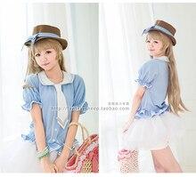 hot japanese anime Love Live! school uniform lolita pajamas kawaii girls Minami Kotori shirt+skrirt+tie +hat cosplay set