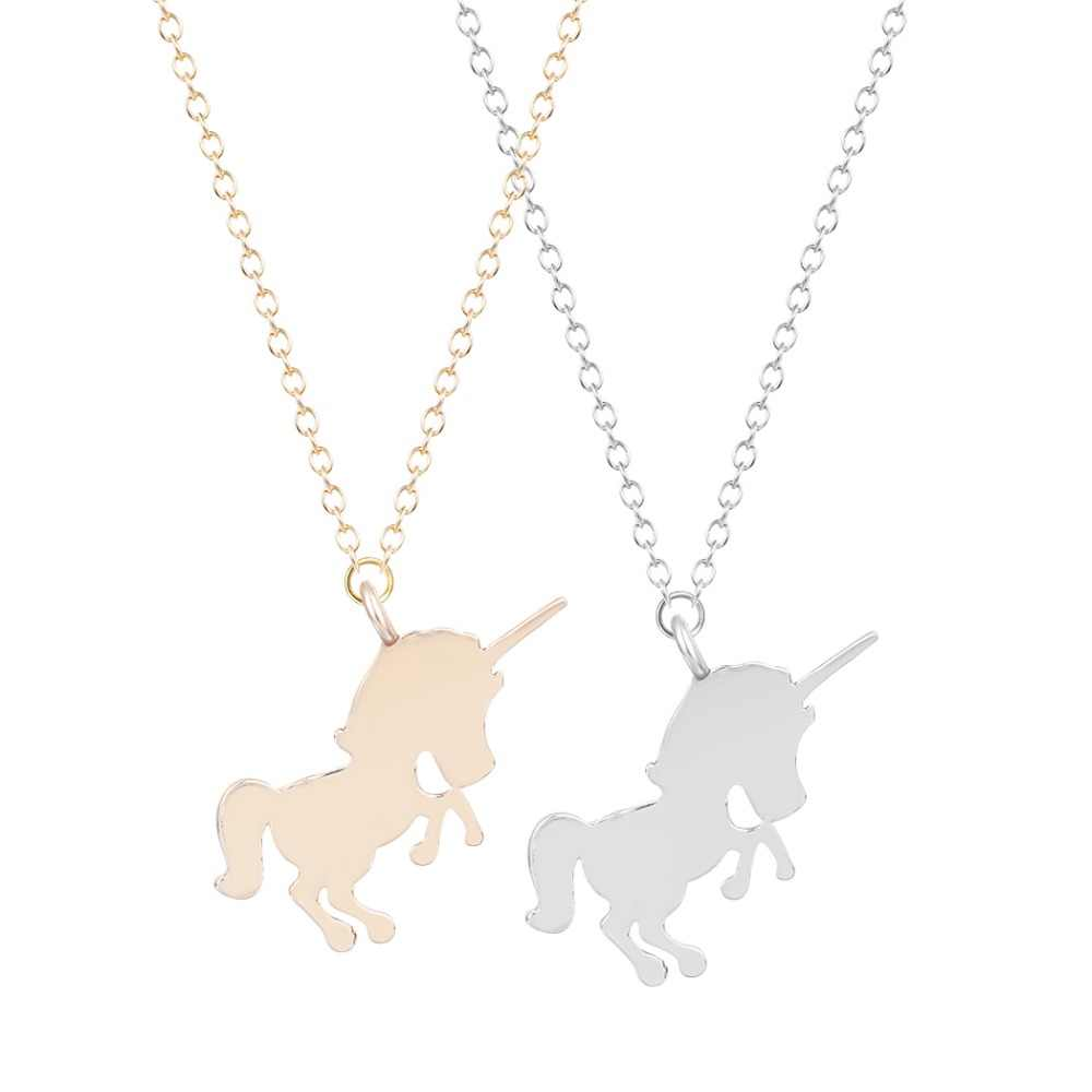 New Style Cool Unicorn Necklace Animal Pendant Male Lovely Horse Collares Gold Chain Necklaces For Women Girls Gift
