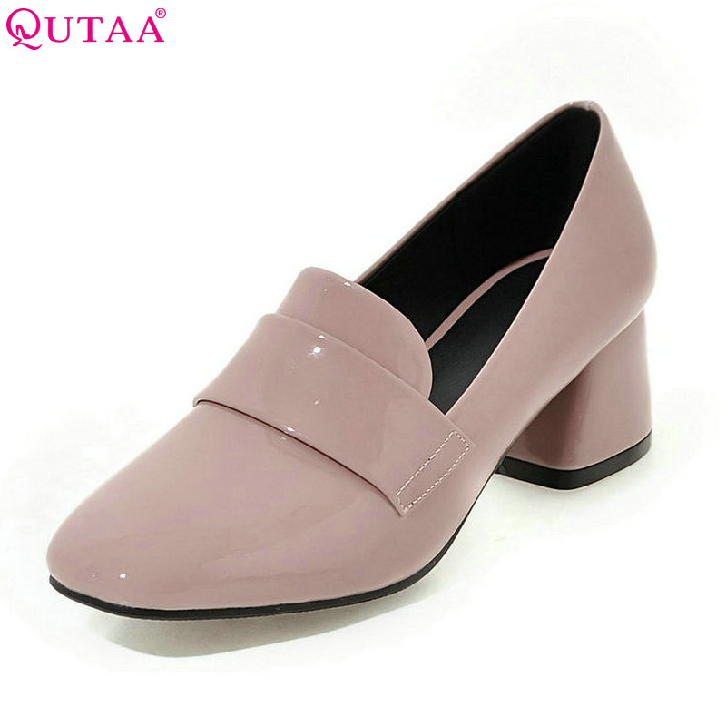 QUTAA 2017 Women Pumps Square Med Heel PU Patent Leather Round Toe Elegant Slip On Ladies Wedding Shoes Size 34-43