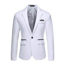 Otoño marca chaqueta de los hombres de moda abrigos Vintage botón negro blanco Blazer hombre casual boda fiesta traje de abrigo Tops prendas de vestir ropa