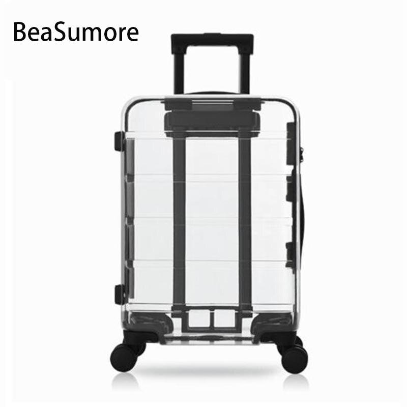 BeaSumore 100 PC Transparent Rolling Luggage Spinner International luxury brand Suitcase Wheels Women men Cabin Trolley