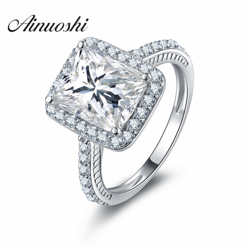 AINOUSHI 3 Ct Emeraled Rectangle Cut Halo Engagement Ring