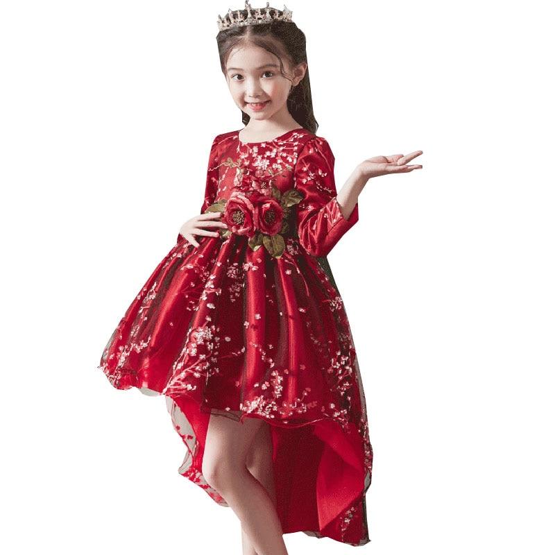 2019 Trailer Flower Girls Party Dress Ball Gown For Kids Princess Dress Costume First Communion Fluffy Dresses Vestido Costume