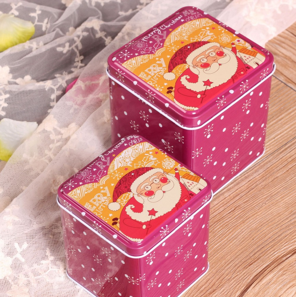 Free Shipping! 2pcs/set Christmas Style Painting Tea Box Metal Storage Case cookies Can Christmas Decor Chocolate Storage Case