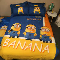 Minions 3D Printed Bedding Set Bedclothes Bed Sheets Duvet Covers Cotton Woven 500TC Childrens Twin Queen King Size Blue Yellow