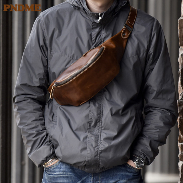 PNDME high quality cowhide simple vintage chest bag genuine leather mens shoulder messenger belt bag casual sports waist packs