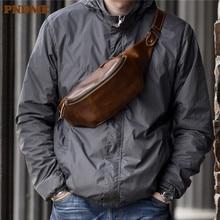 Pndme de alta qualidade do couro simples saco peito do vintage couro genuíno bolsa ombro mensageiro cinto casual esportes cintura packs