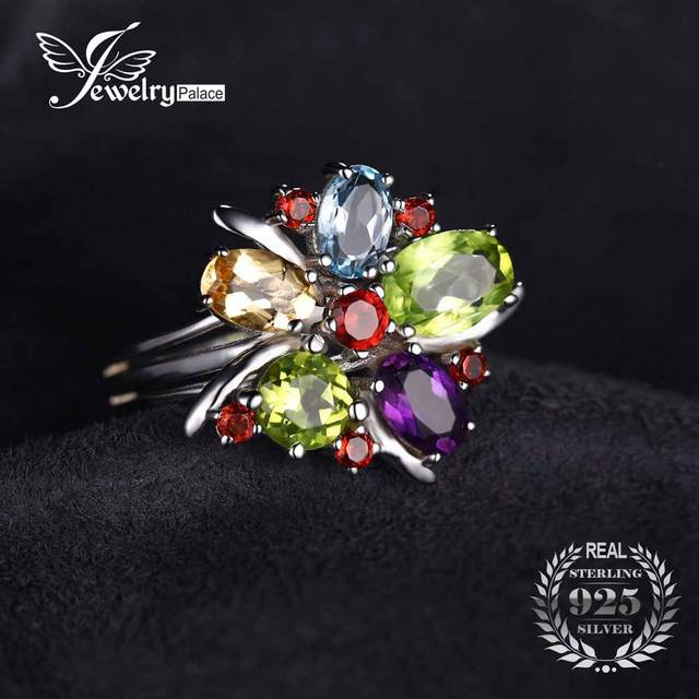 JewelryPalace Flower Multicolor 3.1ct Natural Amethyst Garnet Peridot Citrine Blue Topaz Cocktail Ring 925 Sterling Silver bFSNIrJ