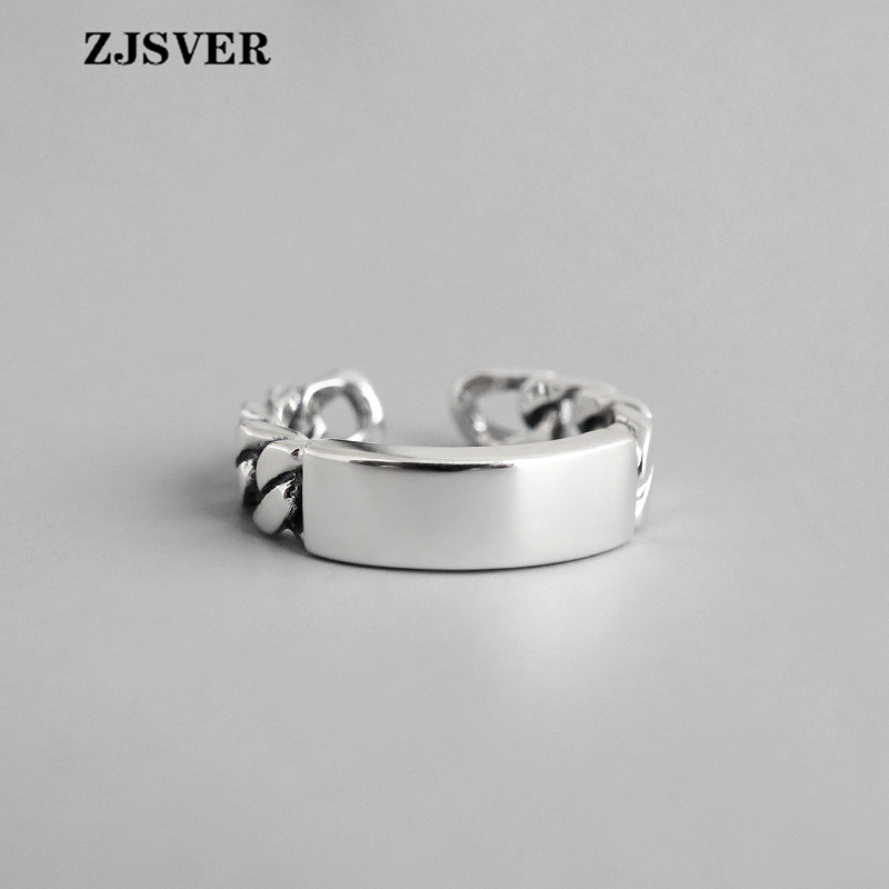 ZJSVER Fine Jewelry 925 Sterling Silver Rings Fashion Retro Silver Glossy Chain Opening Adjustable Women Ring For Present(China)