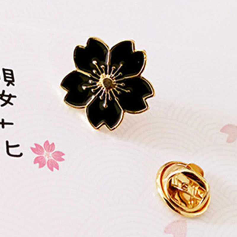 Fashion Gaya Jepang Cherry Indah Bros Seragam Denim Pin Klip Tombol Indah Bunga Bros Perhiasan Hadiah untuk Wanita Gadis