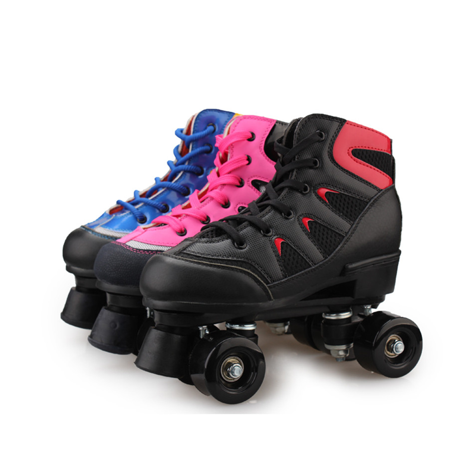 RENIAEVER Roller Skates Double Line Skates Mesh Surface Women Lady Adult With Black PU 4 Wheels Two Line Skating Shoes Patines children roller sneaker with one wheel led lighted flashing roller skates kids boy girl shoes zapatillas con ruedas