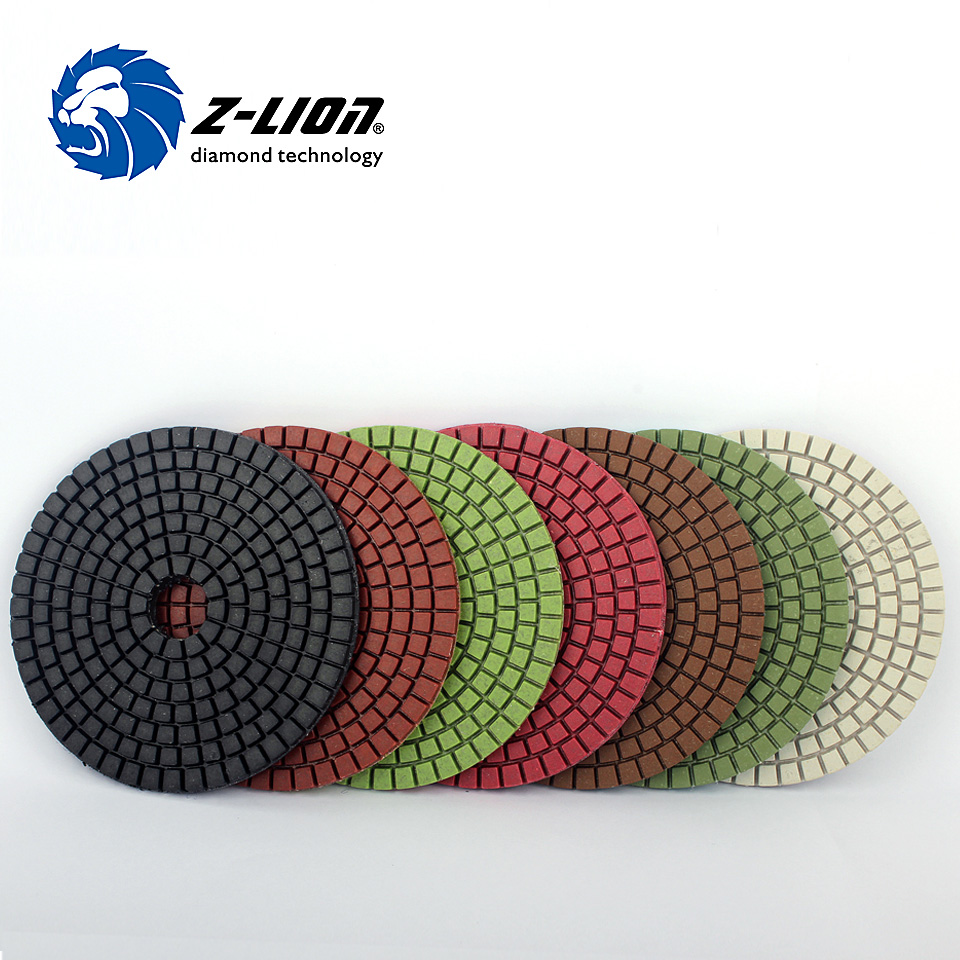 Z-LION 4 Inch Polishing Pad Kit 7 Pcs/Set High Quality Diamond Tools For Concrete Stone Grinding Wet Polish Diamond Pad
