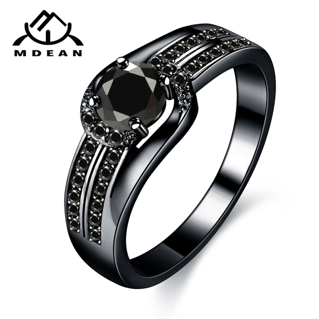 MDEAN Black Gold Color Wedding Rings for Women Engagement black AAA Zircon Jewel