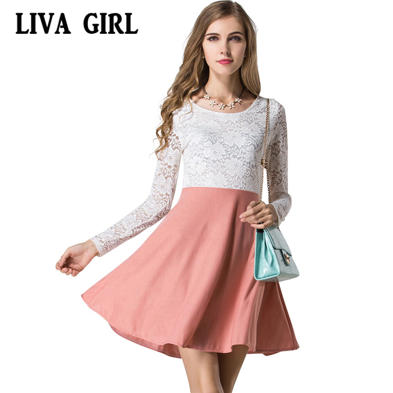 liva girl 2017 summer dress slim long sleeves lace cute