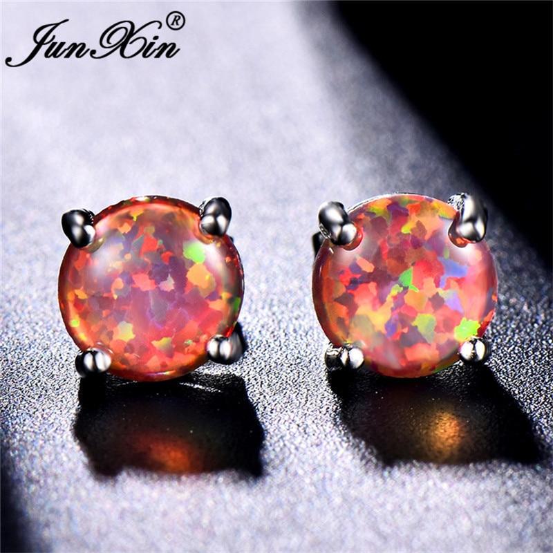 JUNXIN Female Round Rainbow Fire Opal Stud Earrings For Women Silver Color Orange Opals Birthstone Earrings Gifts