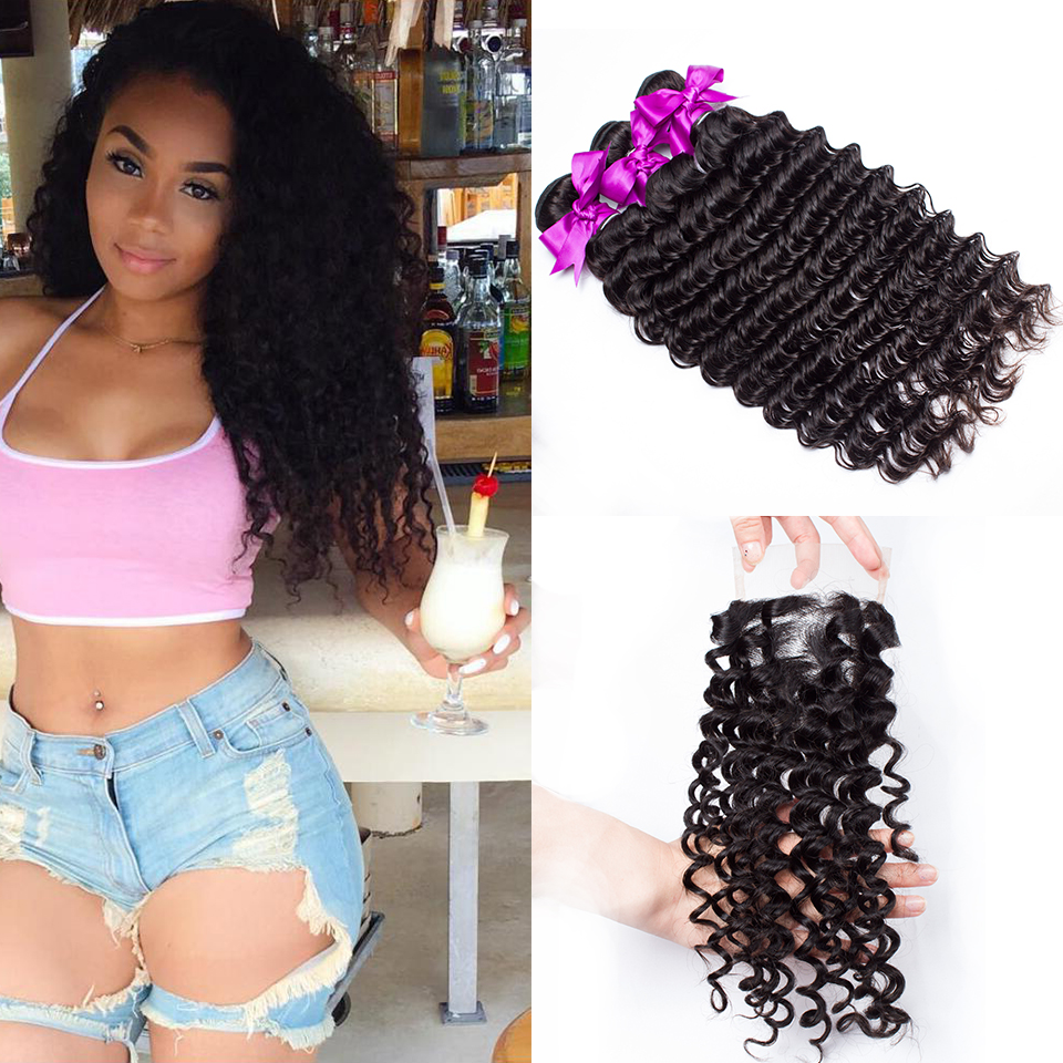 Peruvian Deep Wave Bundles With Closure 4x4 Swiss Lace Deal Remy Curly Weave Human Hair Products 2/3/4 Bundles With Closure ...