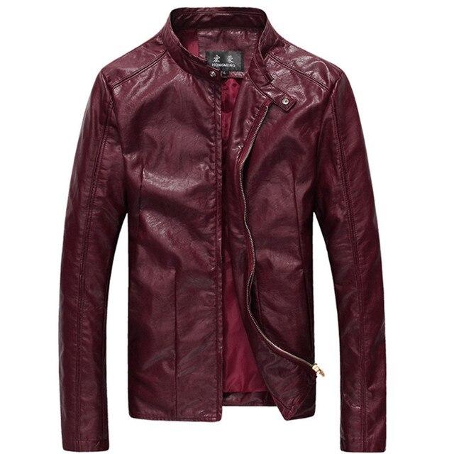 2015 New Men Washing PU Leather Motorcycle Jackets Large Size M-4XL 5XL 6XL Khaki Black Wine Red Male Skin Leather Coat