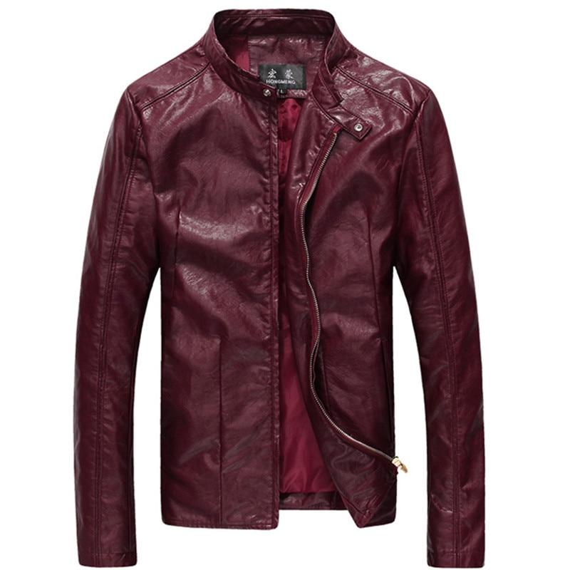 2017 Neue Männer Waschen Pu Leder Motorrad Jacken Große Größe M-4xl 5xl 6xl Khaki Schwarz Wein Roten Männlichen Haut Leder Mantel