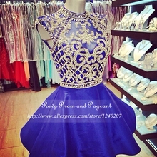 Real Photo Royal Blue Short Prom Dresses 2017 High Neck Sheer Beaded Top Cap Sleeve A-line Prom Dress