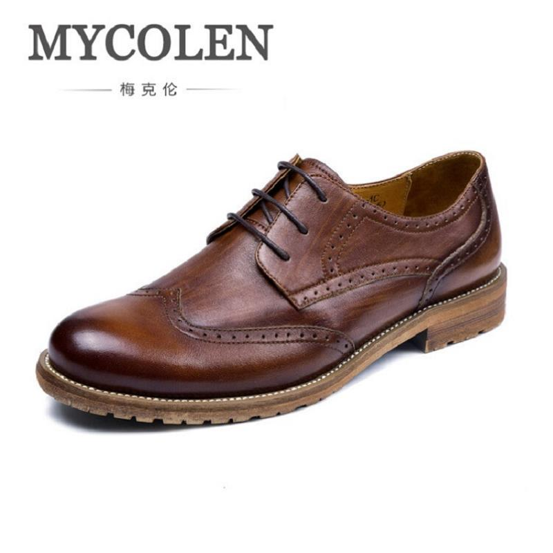 MYCOLEN Ltalian Luxury Designer Formal Mens Dress Shoes British Brogue Shoes Genuine Leather Basic Flats For Men Wedding Office 2017 new fashion italian designer formal mens dress shoes embossed leather luxury wedding shoes men loafers office for male
