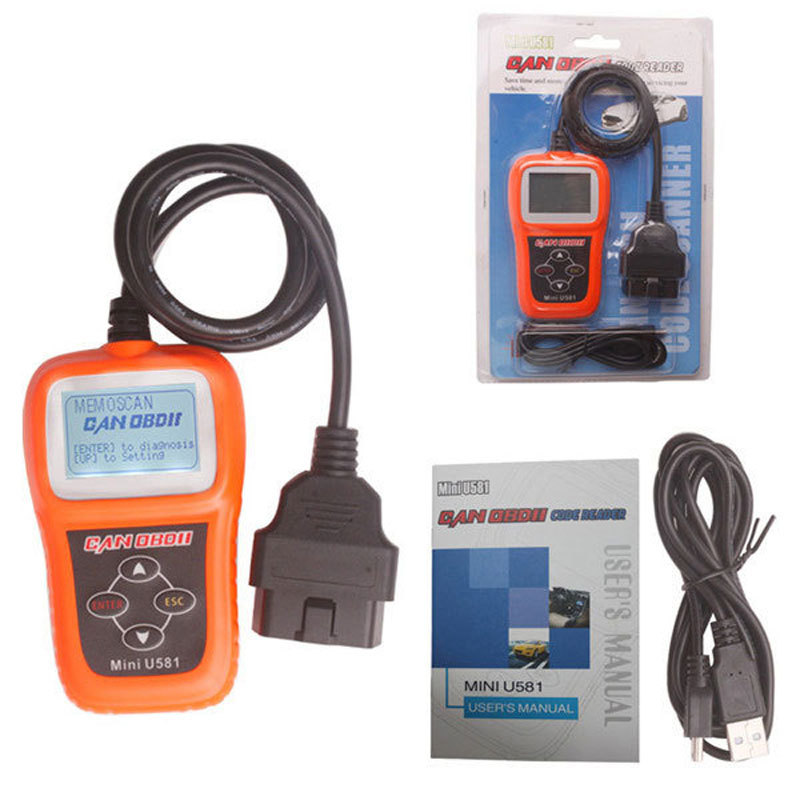 MEMOSCAN Mini U581 OBDII Vehicle Trouble Auto Diagnostic Scanner Tool CAN OBD2 EOBDII U581 Car Diagnostic-Tool OBD 2 Cord Reader