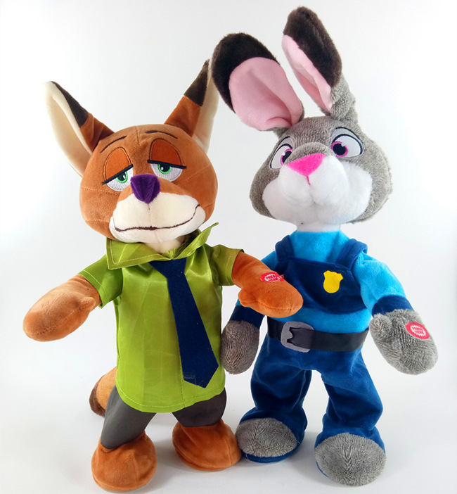 New Zootopia Movie 40cm Electric plush Rabbit Judy Hopps and Fox Nick Wilde Kids figures toys Can sing and dance Children gift стоимость