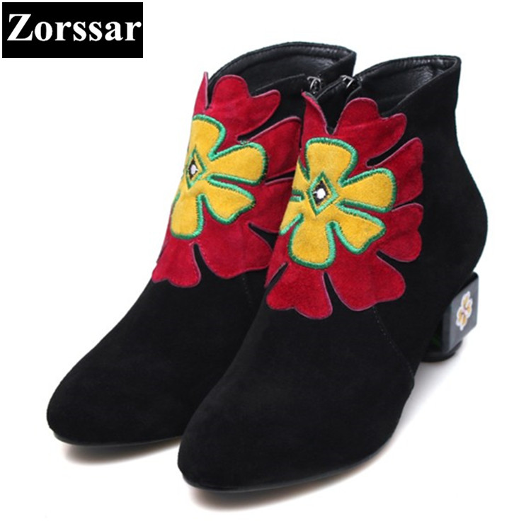 {Zorssar} Fashion flowers Women Boots High Heels ankle boots Short Plush Round Toe zipper womens Martin Boots winter women shoes zorssar brands 2018 new arrival fashion women shoes thick heel zipper ankle chelsea boots square toe high heels womens boots