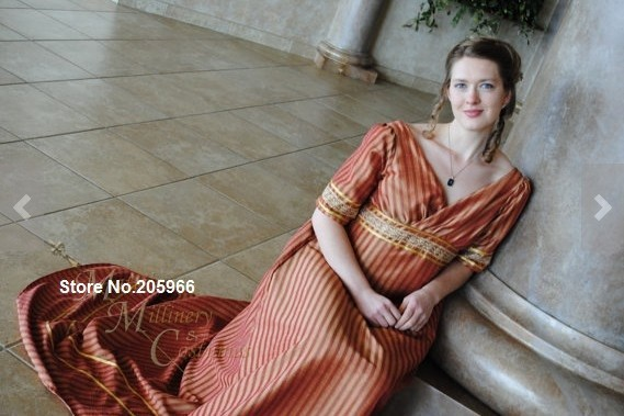 CUSTOM Bronze Stripe Jane Austen Style Regency Empire Gown Dress ...