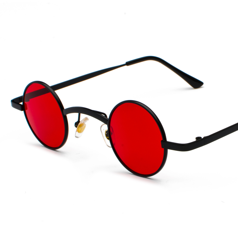 Punk Sunglasses Red Men Retro Black Round Sunglasses Circle Small Glasses Yellow