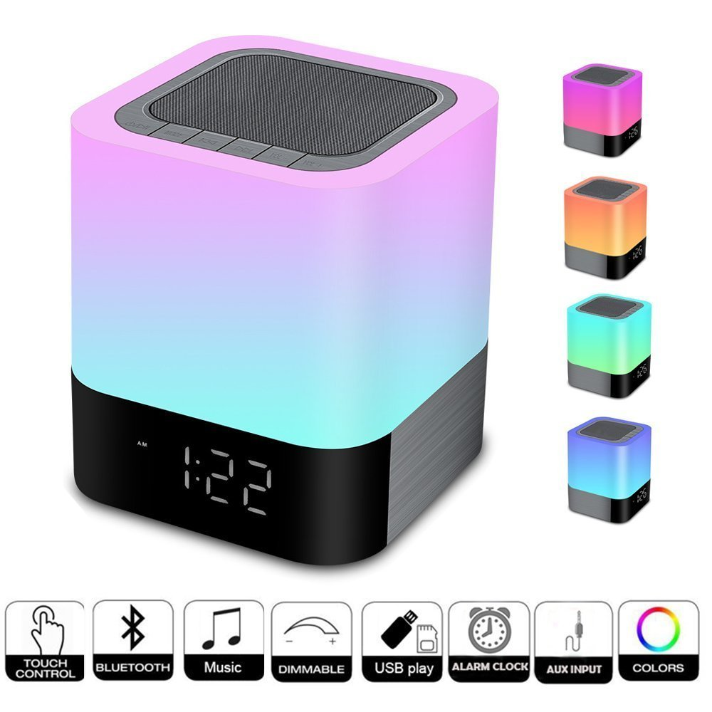 Multifunction Smart Touch Night Light Wireless Bluetooth Speaker Music LED Bedside Lamp Dimmable Colorful Night Light Atmosphere lumiparty smart bedside lamp touch sensor led night light rgb dimmable atmosphere led lamp intelligent mood nightlight