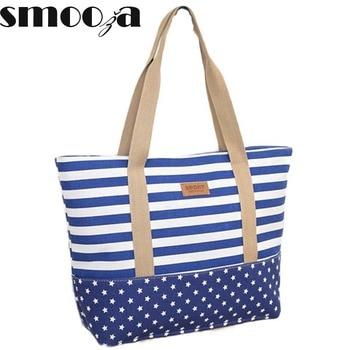 SMOOZA Fashion Striped Casual Tote Women Canvas Handbag Casual Shoulder Shopping Bags Beach Zipper Large Bag Sac A Main Bolsas